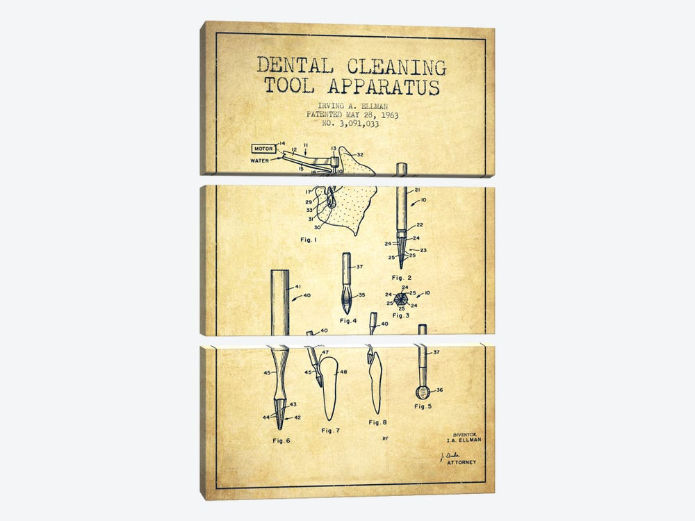 Dental Cleaning Tool Vintage Patent Blueprint by Aged Pixel 3-piece Canvas Artwork