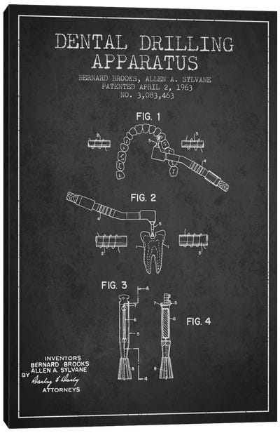 Dental Drilling Charcoal Patent Blueprint Canvas Art Print