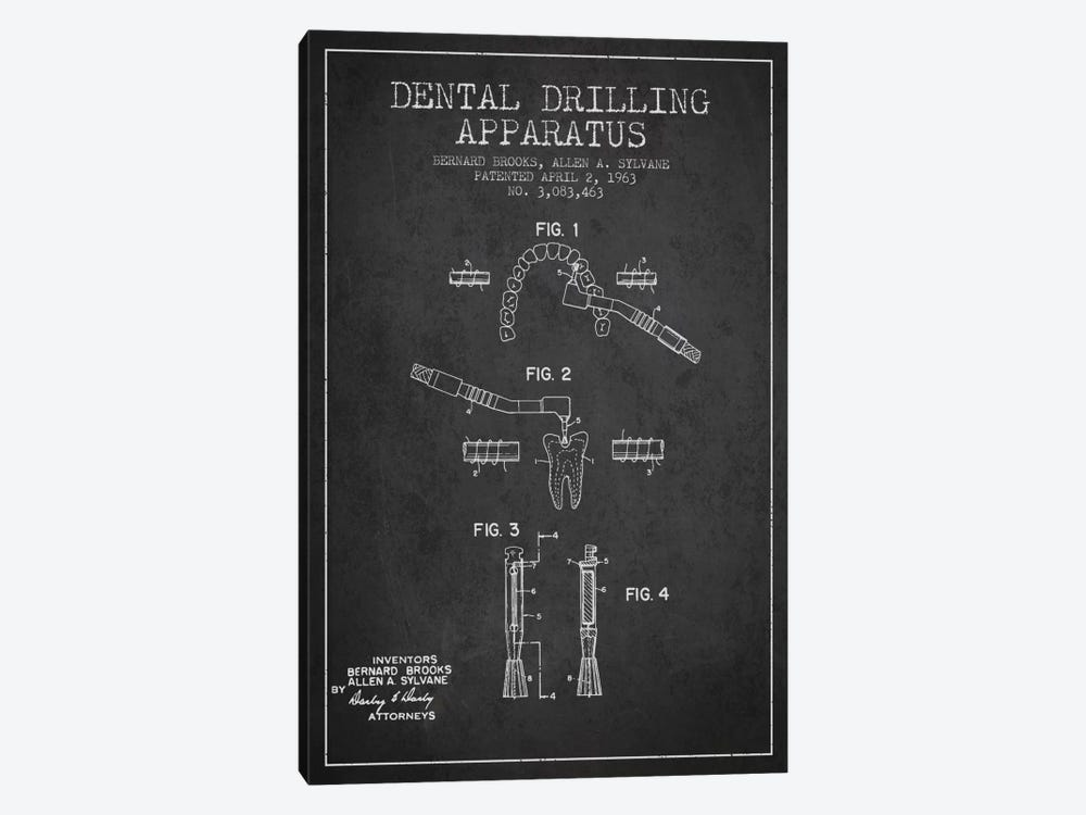 Dental Drilling Charcoal Patent Blueprint by Aged Pixel 1-piece Canvas Print