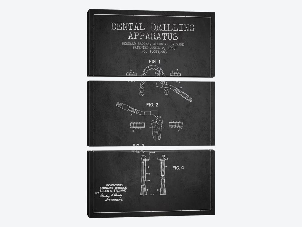 Dental Drilling Charcoal Patent Blueprint by Aged Pixel 3-piece Art Print