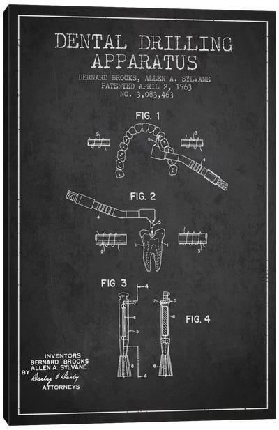 Dental Drilling Charcoal Patent Blueprint Canvas Art Print