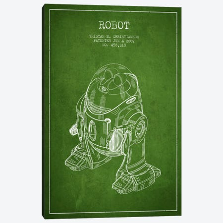Robot Green Patent Blueprint Canvas Print #ADP162} by Aged Pixel Canvas Art