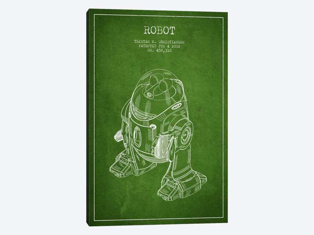 Robot Green Patent Blueprint by Aged Pixel 1-piece Canvas Artwork