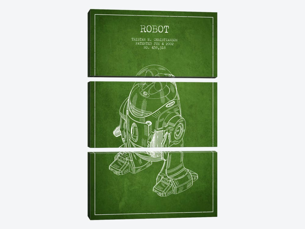 Robot Green Patent Blueprint by Aged Pixel 3-piece Canvas Artwork
