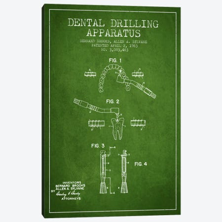 Dental Drilling Green Patent Blueprint Canvas Print #ADP1630} by Aged Pixel Canvas Print