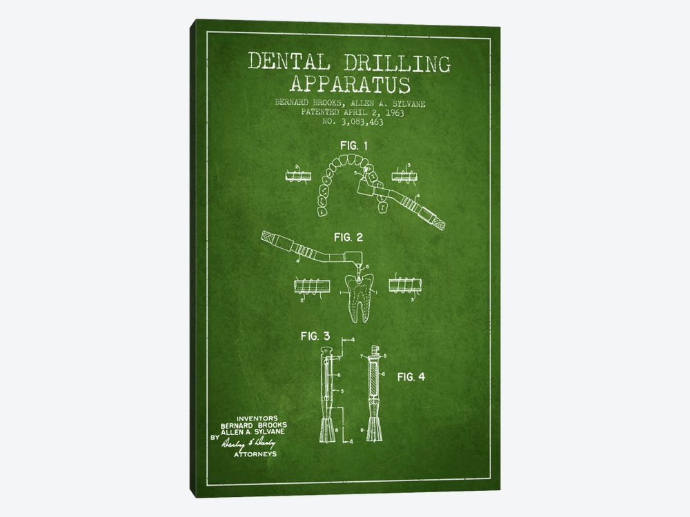 Dental Drilling Green Patent Blueprint by Aged Pixel 1-piece Canvas Art Print