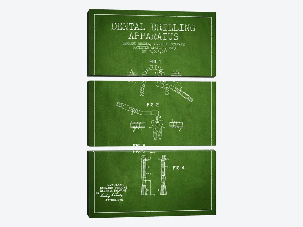 Dental Drilling Green Patent Blueprint by Aged Pixel 3-piece Art Print