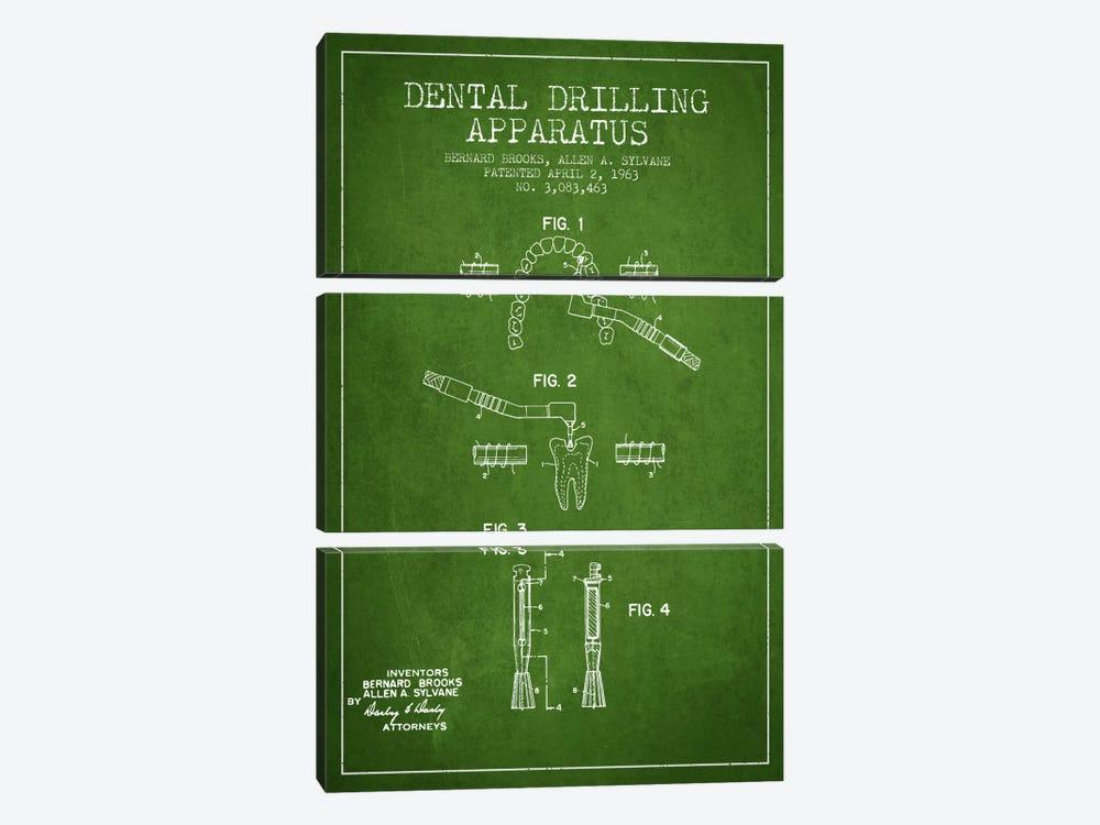 Dental Drilling Green Patent Blueprint by Aged Pixel 3-piece Art Print