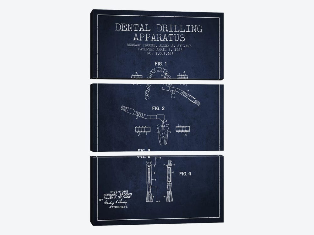Dental Drilling Navy Blue Patent Blueprint by Aged Pixel 3-piece Canvas Wall Art