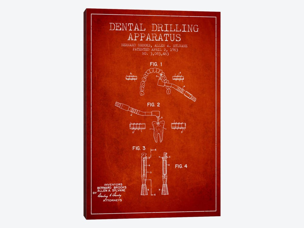 Dental Drilling Red Patent Blueprint by Aged Pixel 1-piece Art Print