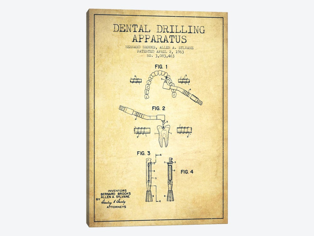 Dental Drilling Vintage Patent Blueprint by Aged Pixel 1-piece Canvas Art