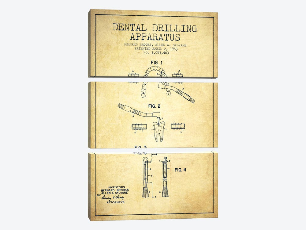 Dental Drilling Vintage Patent Blueprint by Aged Pixel 3-piece Canvas Art