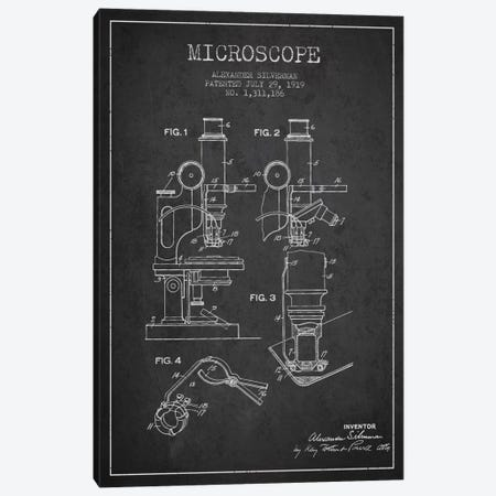 Microscope Charcoal Patent Blueprint Canvas Print #ADP1634} by Aged Pixel Canvas Artwork