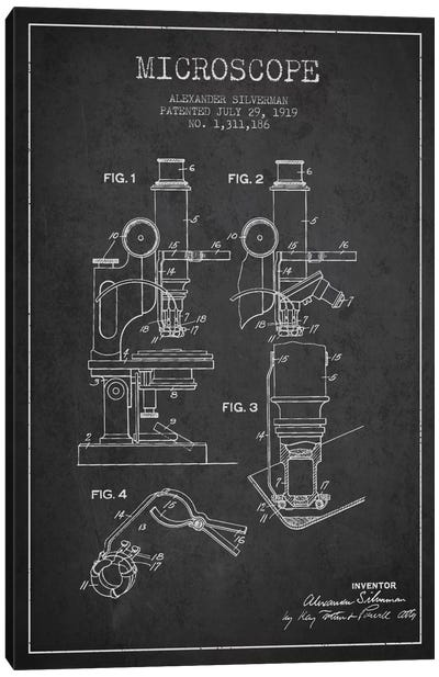 Microscope Charcoal Patent Blueprint Canvas Art Print