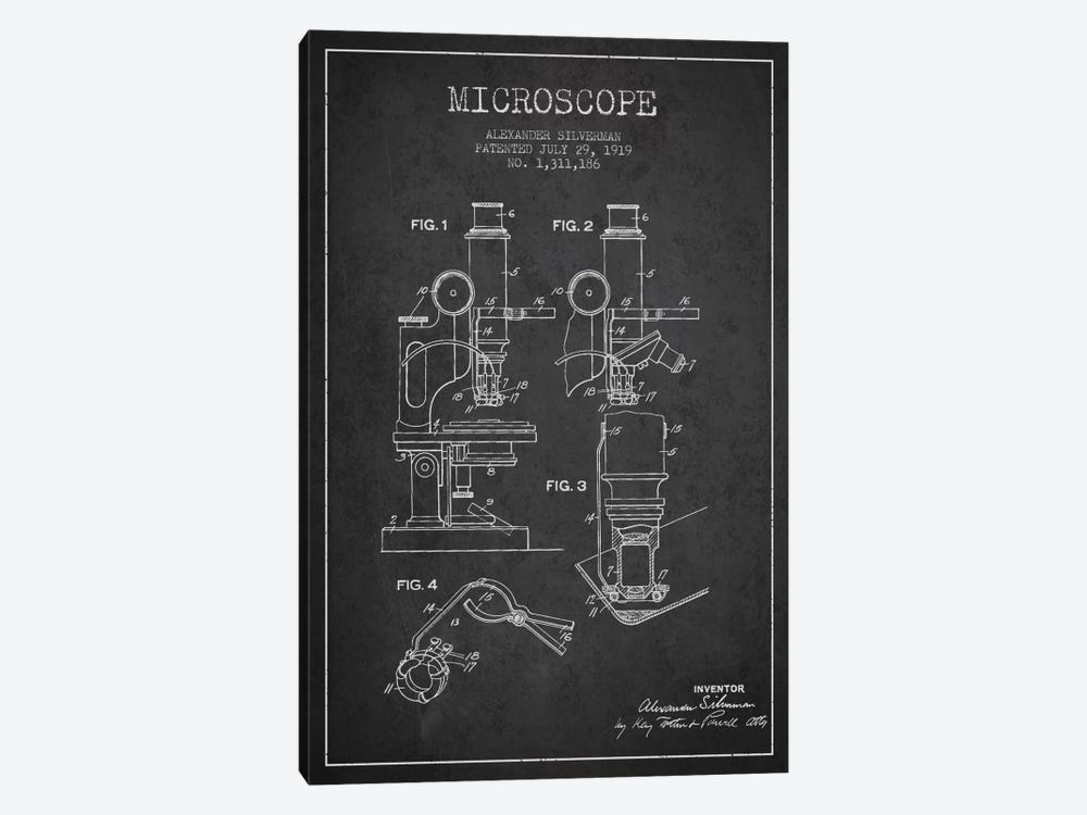 Microscope Charcoal Patent Blueprint by Aged Pixel 1-piece Art Print