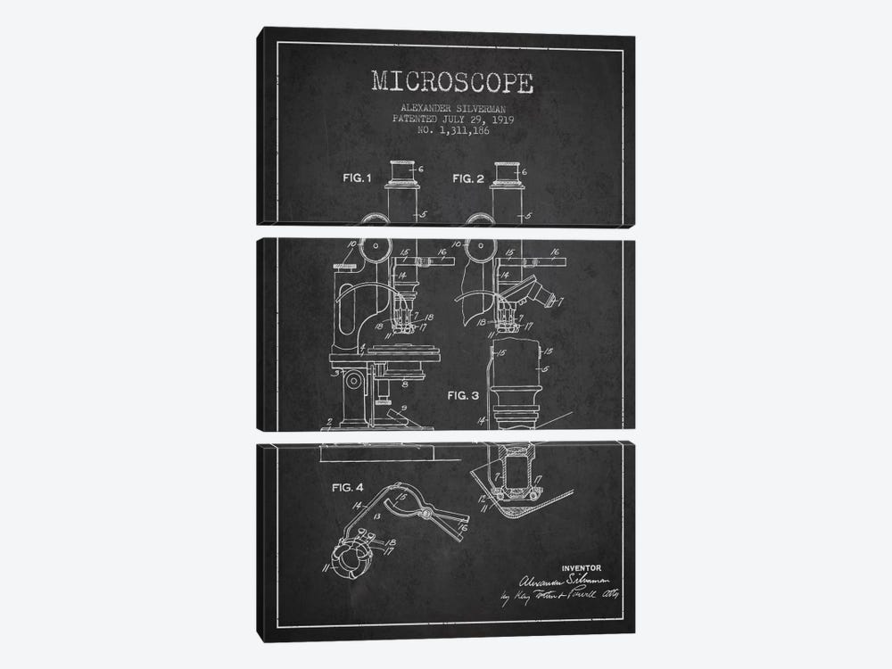 Microscope Charcoal Patent Blueprint by Aged Pixel 3-piece Art Print