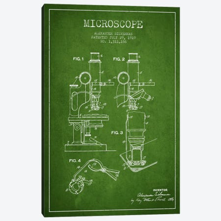 Microscope Green Patent Blueprint Canvas Print #ADP1635} by Aged Pixel Canvas Art