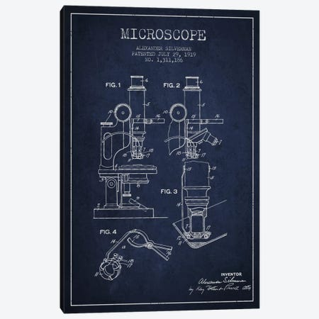 Microscope Navy Blue Patent Blueprint Canvas Print #ADP1636} by Aged Pixel Canvas Wall Art