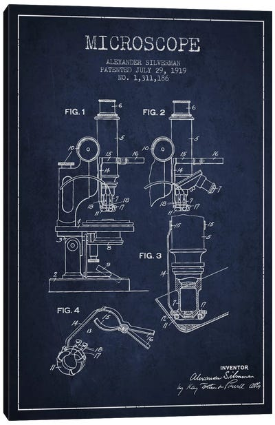 Microscope Navy Blue Patent Blueprint Canvas Art Print