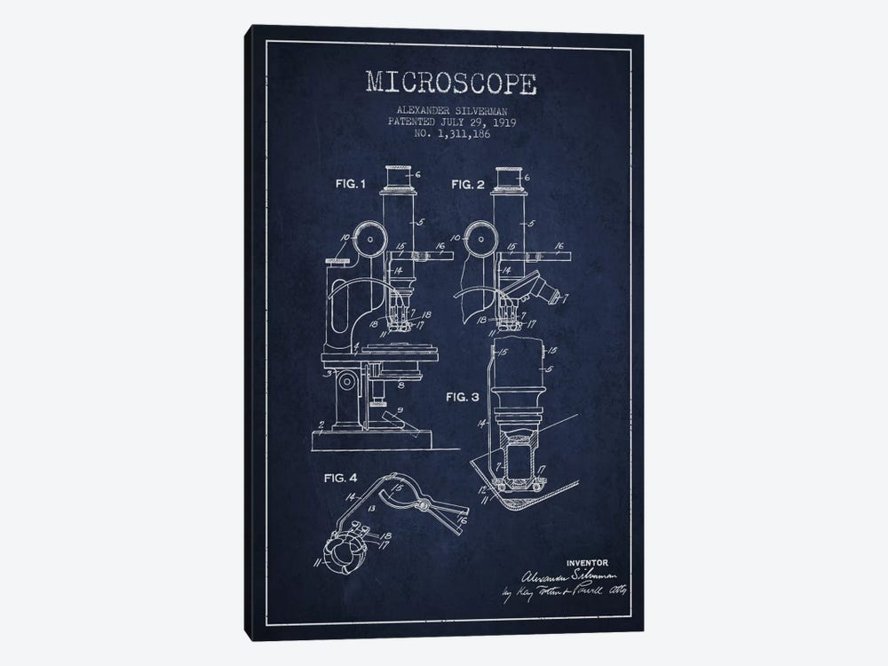 Microscope Navy Blue Patent Blueprint by Aged Pixel 1-piece Canvas Art Print