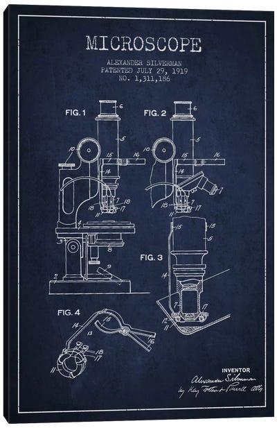 Microscope Navy Blue Patent Blueprint Canvas Art Print
