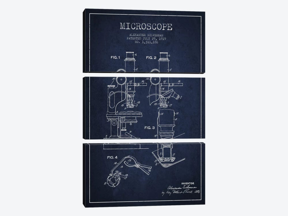 Microscope Navy Blue Patent Blueprint by Aged Pixel 3-piece Canvas Print
