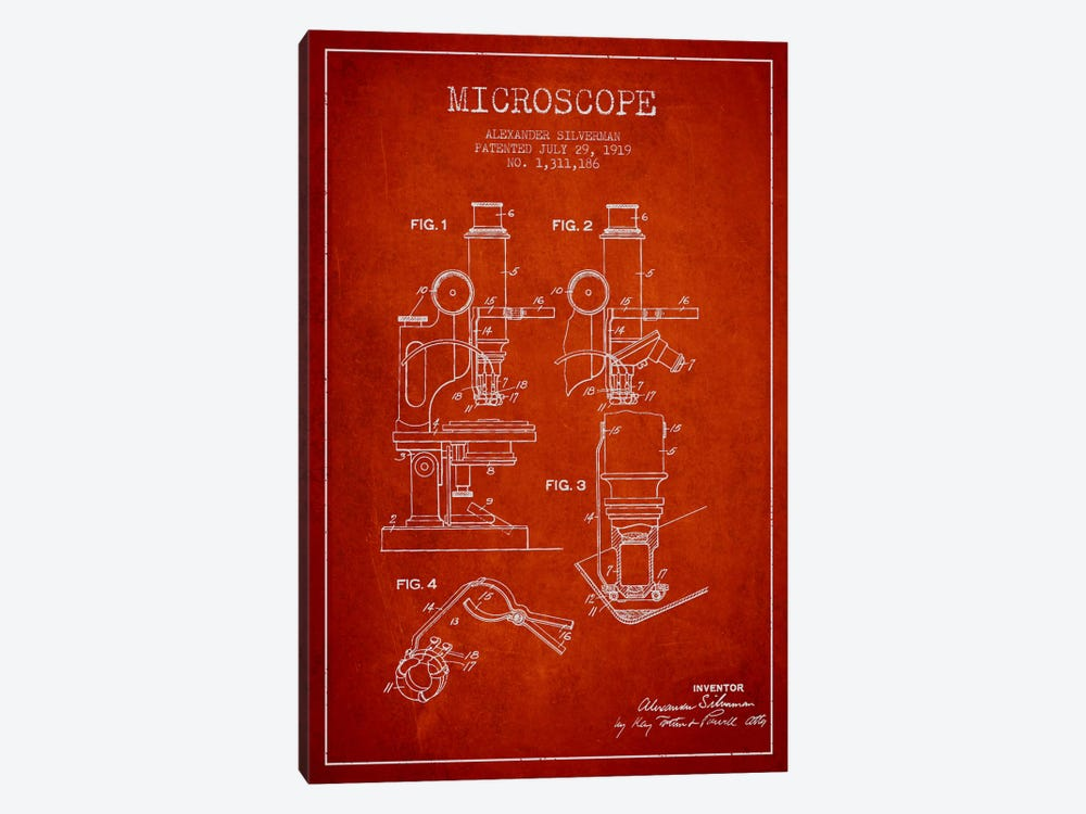 Microscope Red Patent Blueprint by Aged Pixel 1-piece Canvas Wall Art