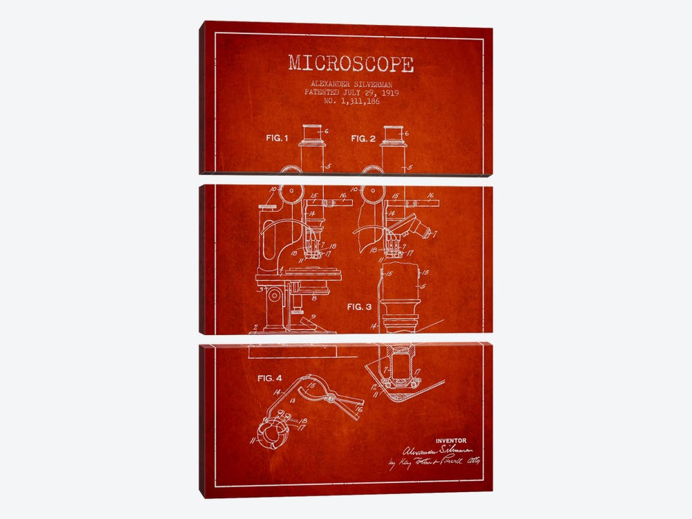 Microscope Red Patent Blueprint by Aged Pixel 3-piece Canvas Art