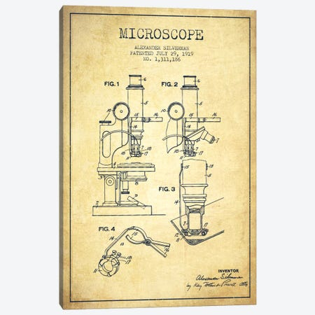Microscope Vintage Patent Blueprint Canvas Print #ADP1638} by Aged Pixel Art Print