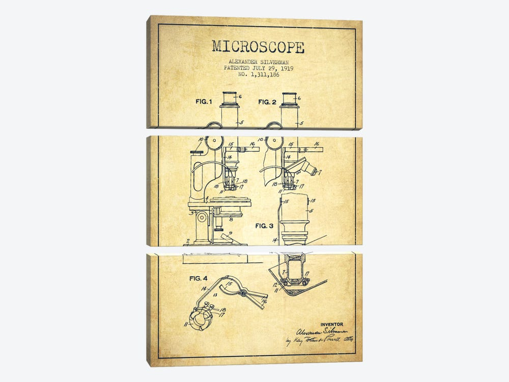 Microscope Vintage Patent Blueprint by Aged Pixel 3-piece Canvas Print