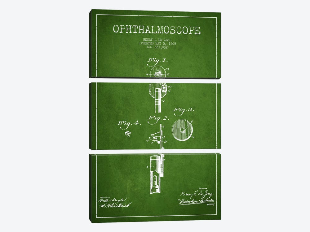 Ophthalmoscope Green Patent Blueprint by Aged Pixel 3-piece Canvas Artwork