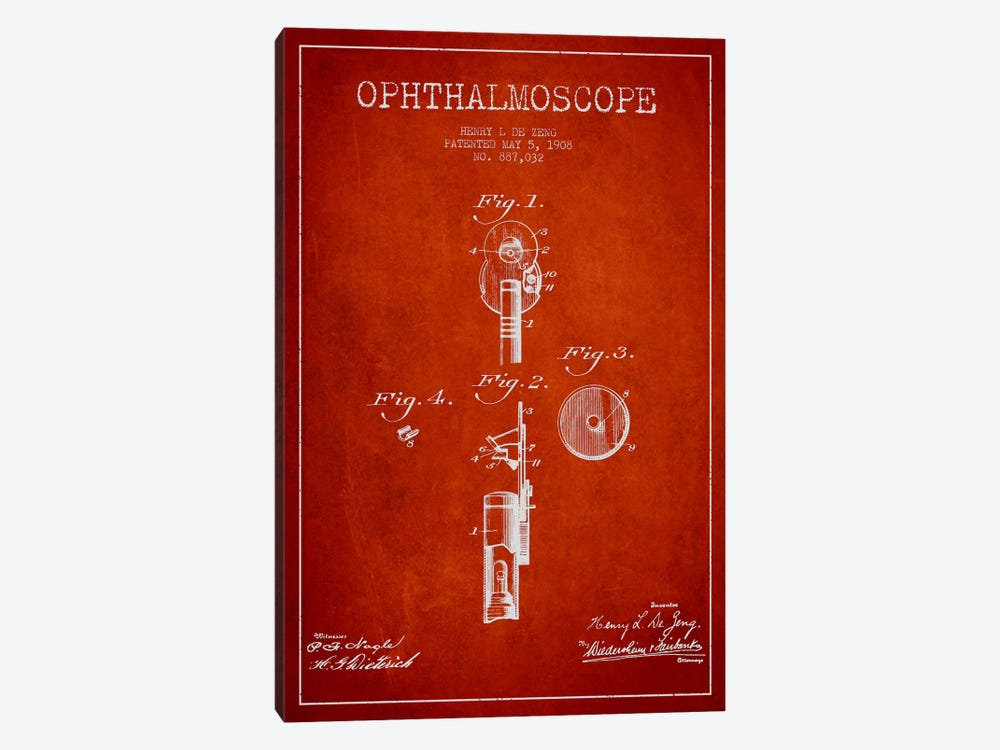 Ophthalmoscope Red Patent Blueprint by Aged Pixel 1-piece Canvas Artwork