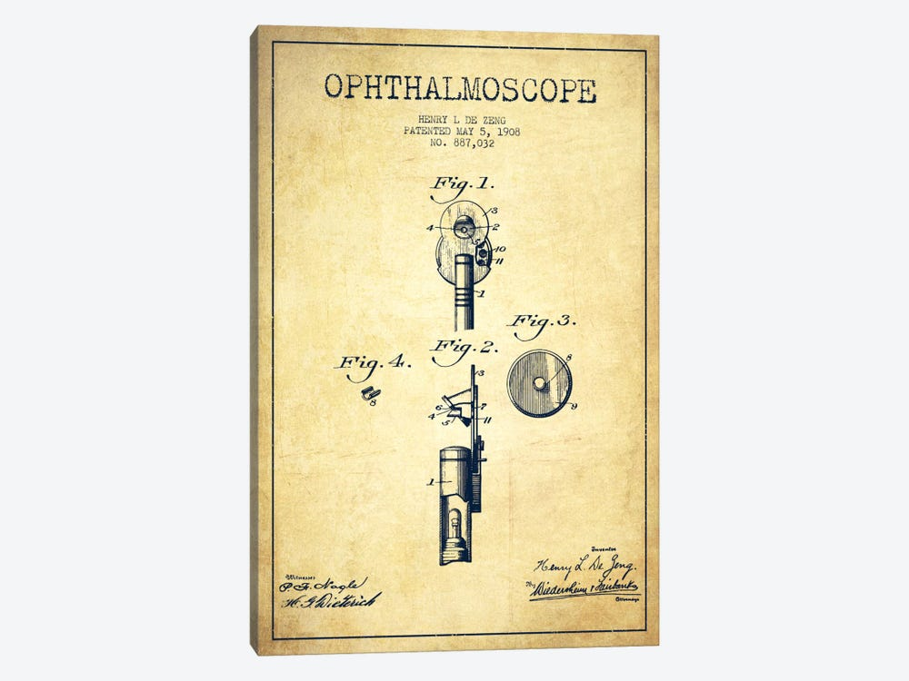 Ophthalmoscope Vintage Patent Blueprint by Aged Pixel 1-piece Canvas Print