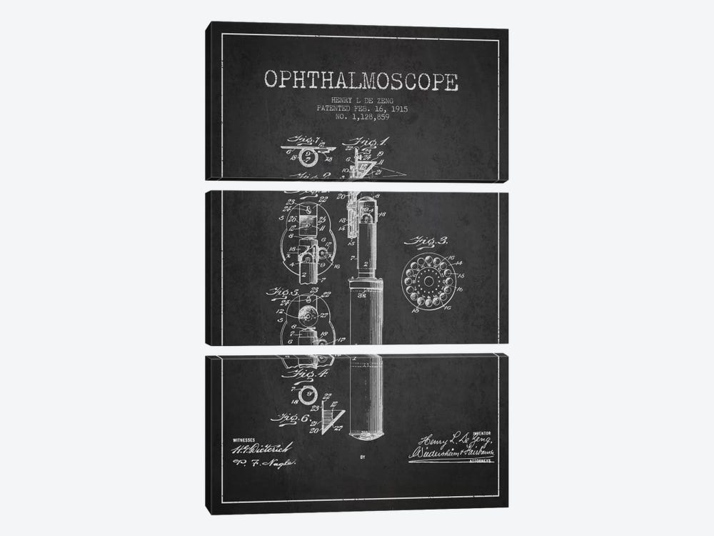 Ophthalmoscope Charcoal Patent Blueprint by Aged Pixel 3-piece Canvas Art
