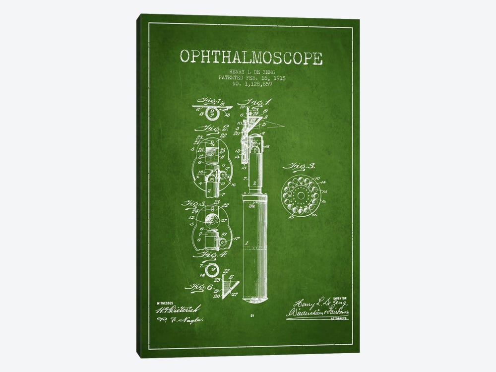 Ophthalmoscope Green Patent Blueprint by Aged Pixel 1-piece Canvas Print