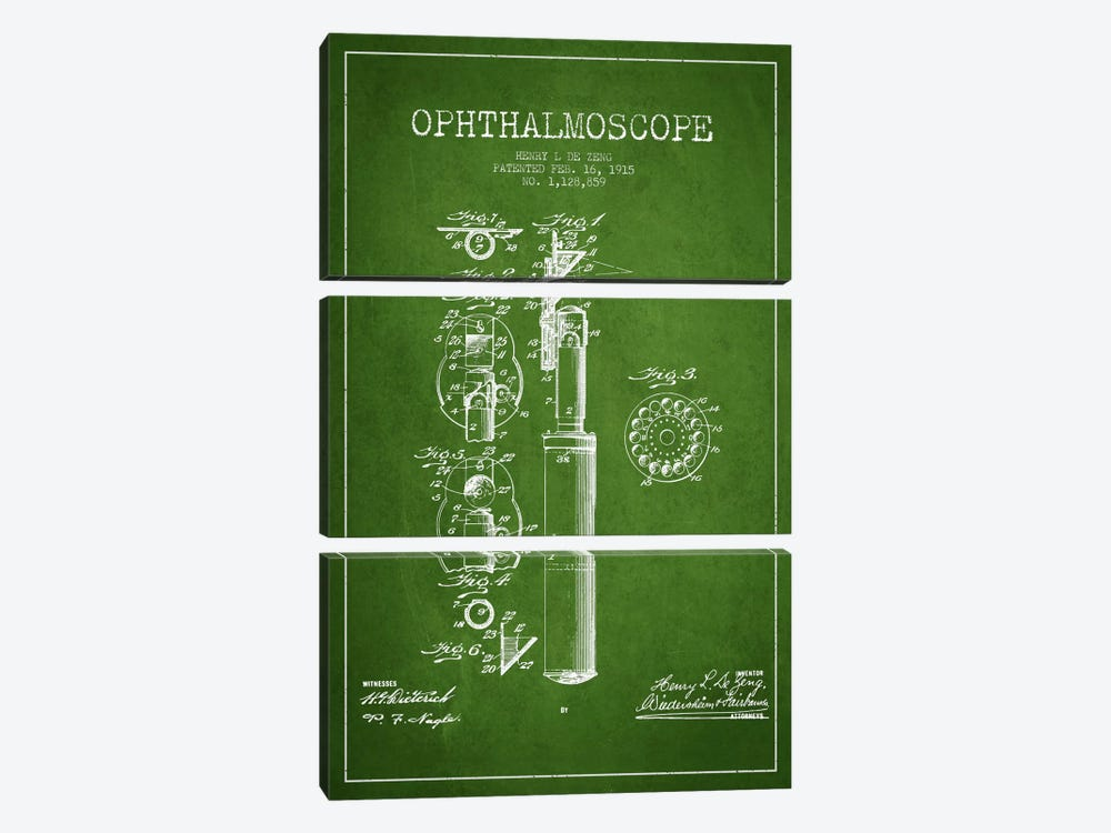 Ophthalmoscope Green Patent Blueprint by Aged Pixel 3-piece Canvas Art Print
