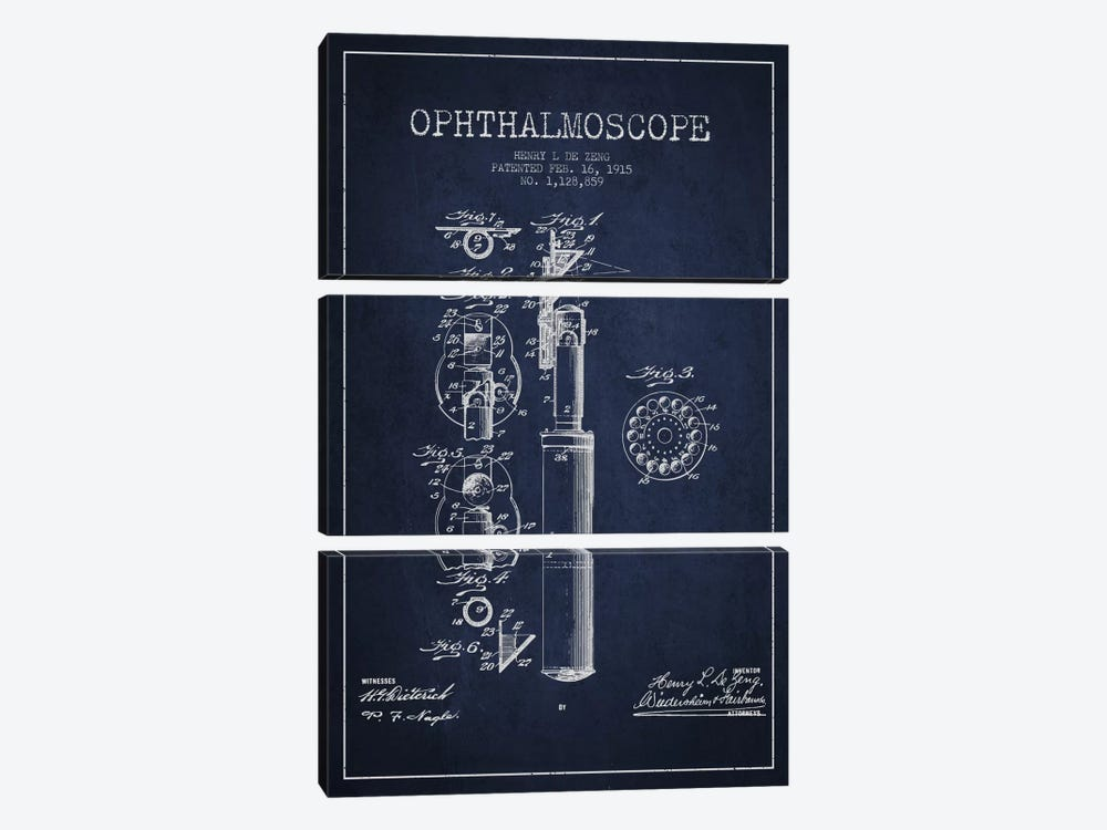 Ophthalmoscope Navy Blue Patent Blueprint by Aged Pixel 3-piece Canvas Wall Art