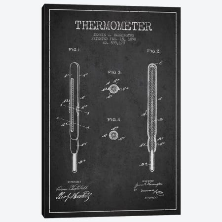 Thermometer Charcoal Patent Blueprint Canvas Print #ADP1649} by Aged Pixel Canvas Artwork