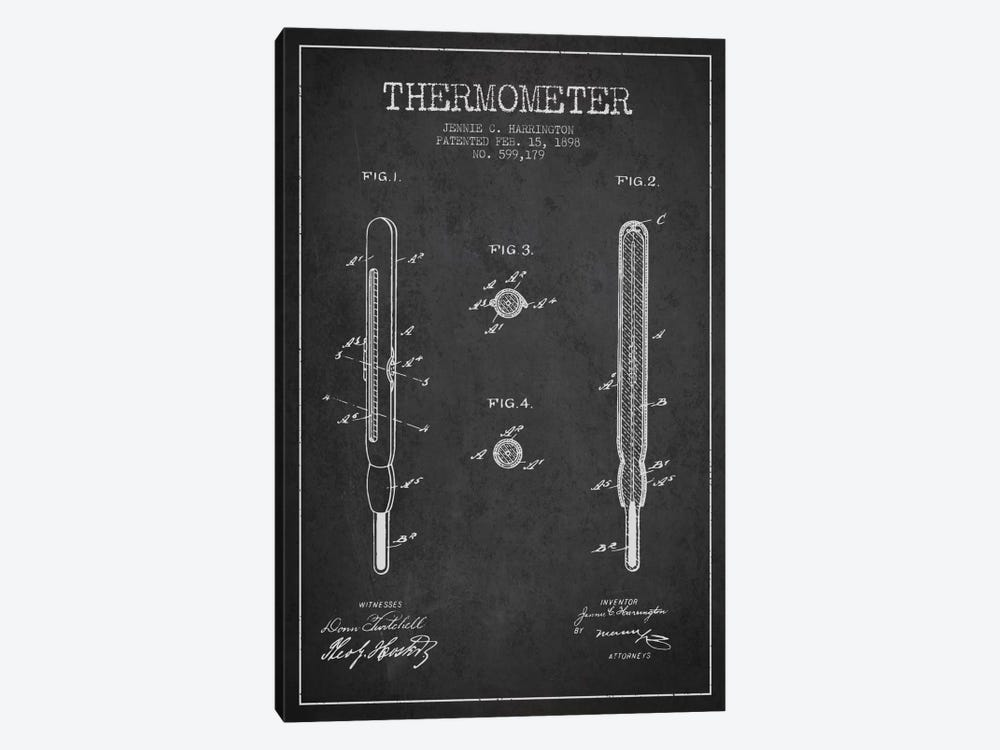 Thermometer Charcoal Patent Blueprint by Aged Pixel 1-piece Canvas Print