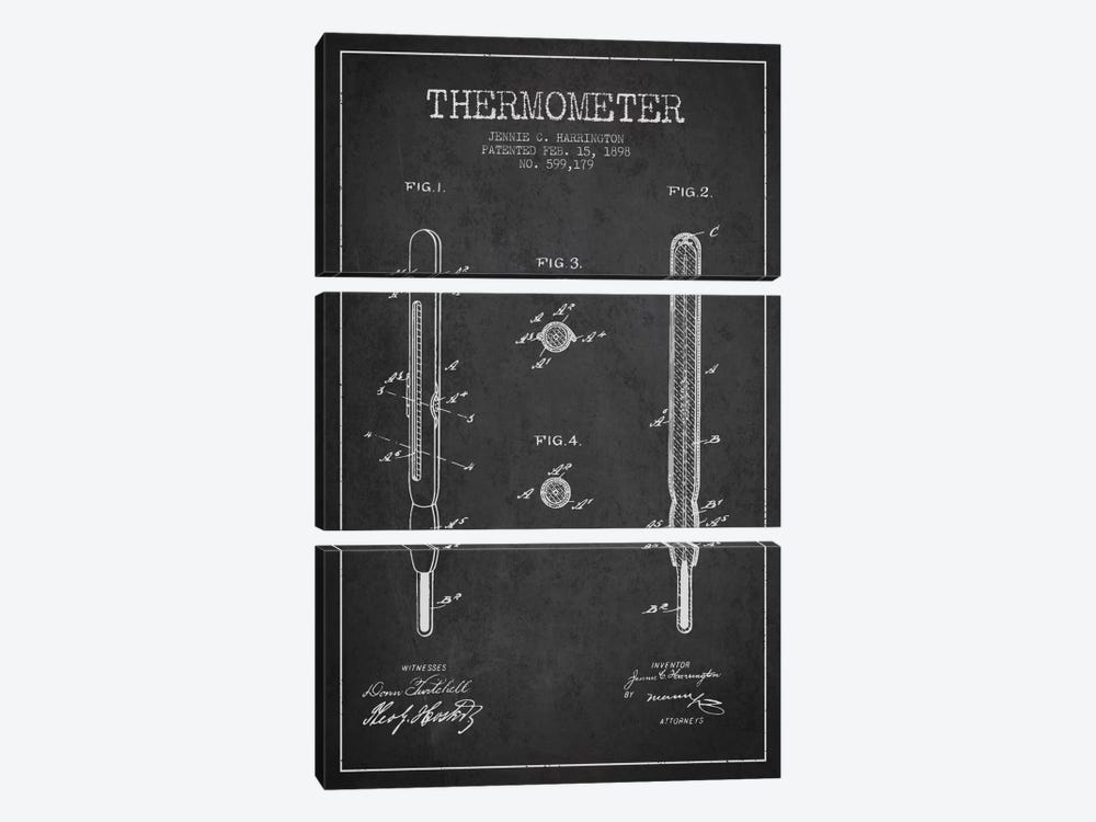 Thermometer Charcoal Patent Blueprint by Aged Pixel 3-piece Art Print