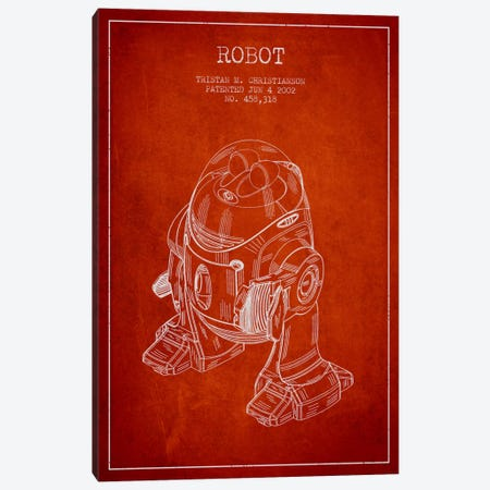 Robot Red Patent Blueprint Canvas Print #ADP164} by Aged Pixel Canvas Print