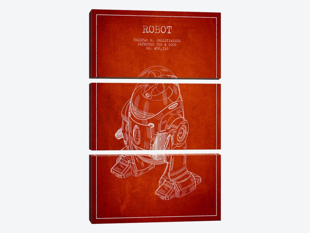 Robot Red Patent Blueprint 3-piece Canvas Artwork