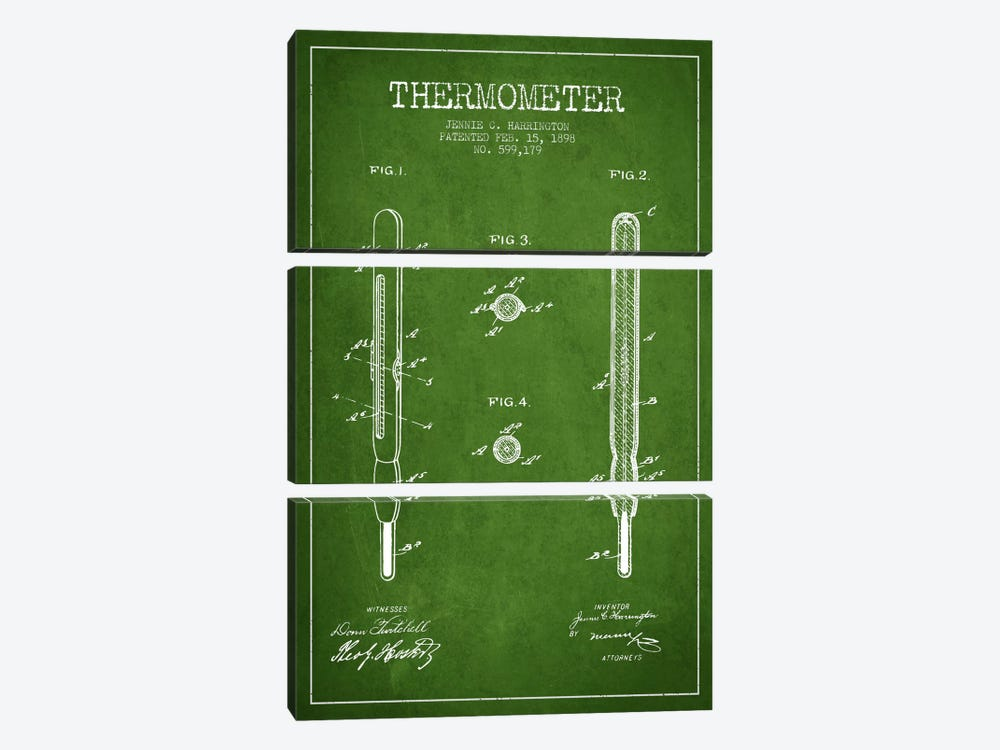 Thermometer Green Patent Blueprint by Aged Pixel 3-piece Canvas Art Print