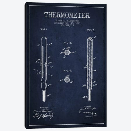 Thermometer Navy Blue Patent Blueprint Canvas Print #ADP1651} by Aged Pixel Canvas Print