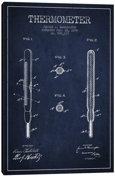 Thermometer Navy Blue Patent Blueprint Canvas Art Print