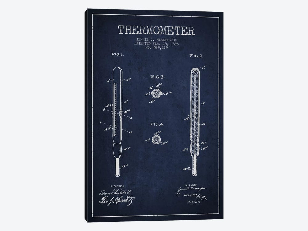 Thermometer Navy Blue Patent Blueprint by Aged Pixel 1-piece Canvas Art