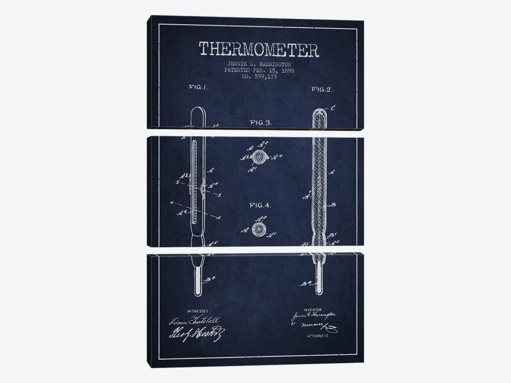 Thermometer Navy Blue Patent Blueprint 3-piece Canvas Art