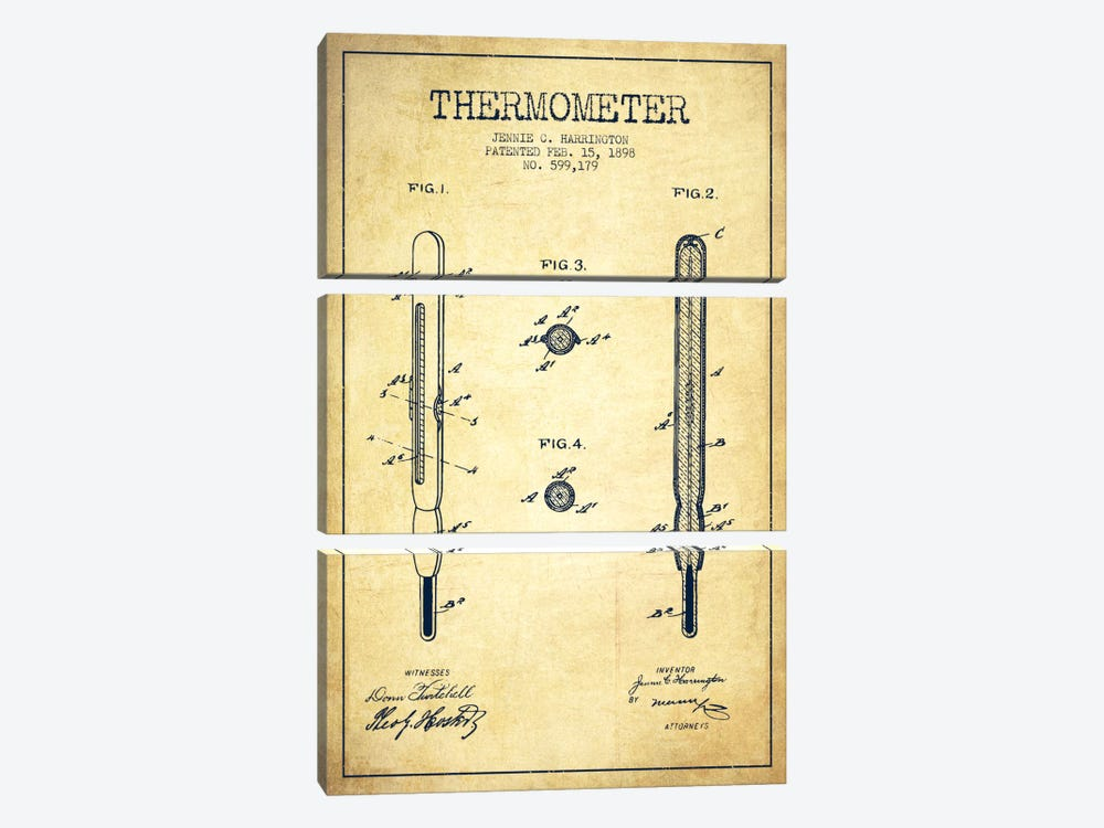 Thermometer Vintage Patent Blueprint by Aged Pixel 3-piece Canvas Artwork
