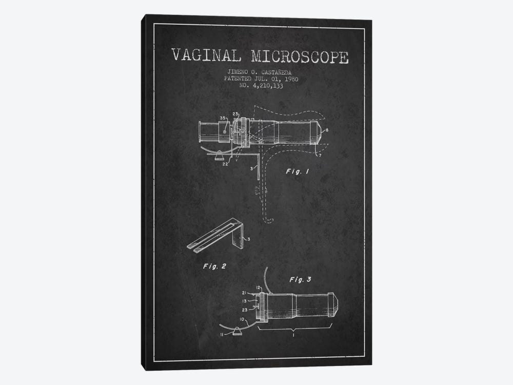 Vaginal Microscope Charcoal Patent Blueprint by Aged Pixel 1-piece Canvas Print