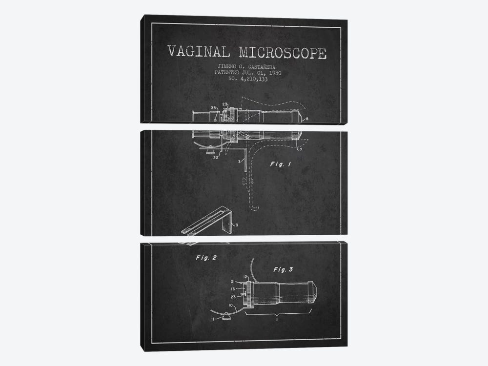 Vaginal Microscope Charcoal Patent Blueprint by Aged Pixel 3-piece Canvas Art Print
